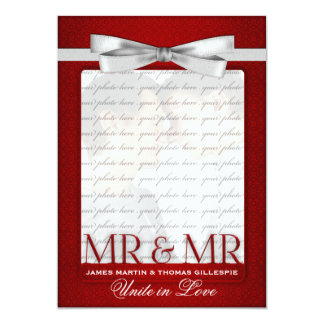 Mr and Mr Red Wedding Photo for Grooms Card