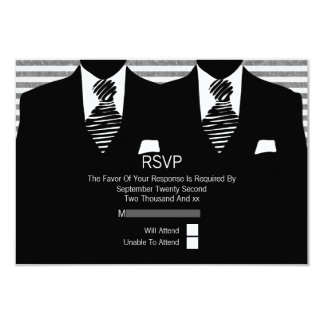 Mr and Mr Suit and black Ties Gay Wedding Card