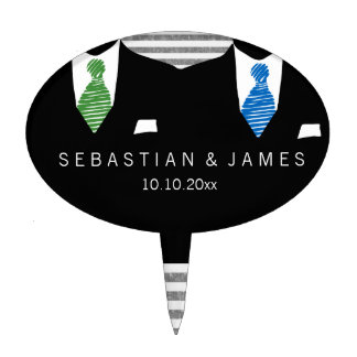 Mr and Mr Suit and Green Blue Ties Gay Wedding Cake Topper