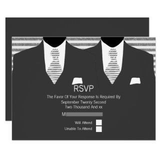 Mr and Mr Suit and Grey Ties Gay Wedding Card