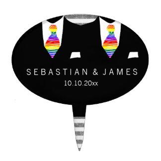 Mr and Mr Suit and Rainbow Tie Gay Wedding Cake Picks
