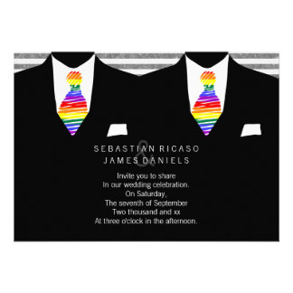 Mr and Mr Suit and Rainbow Tie Gay Wedding Invites