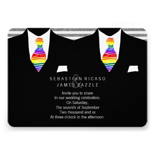 Mr and Mr Suit and Rainbow Tie Gay Wedding Invitations