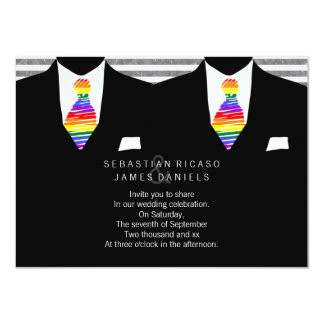 Mr and Mr Suit and Rainbow Tie Gay Wedding 4.5x6.25 Paper Invitation Card