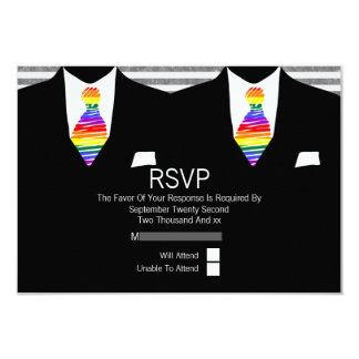 Mr and Mr Suit and Rainbow Tie Gay Wedding RSVP 3.5x5 Paper Invitation Card