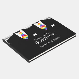 Mr and Mr Suit and Rainbow Ties Gay Wedding Custom Guest Book