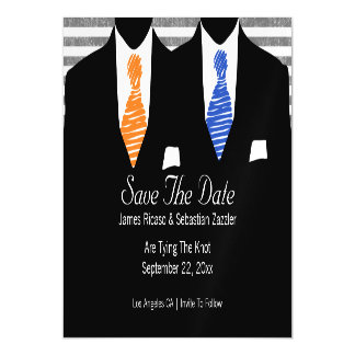 Mr and Mr Suit and Tie Blue / Orange Save The Date Magnetic Card