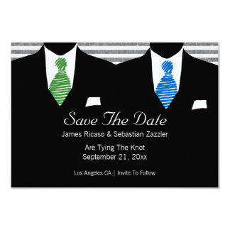 Mr and Mr Suit and Tie Gay Save The Date Wedding Card