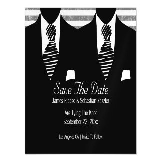 Mr and Mr Suit and Tie Gay Save The Date Wedding Magnetic Card
