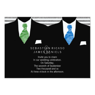 Mr and Mr Suit and Tie Gay Wedding 5x7 Paper Invitation Card
