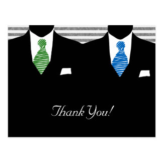Mr and Mr Suit and Tie Gay Wedding Thank You Postcard