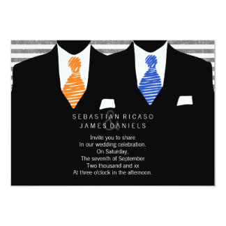 Mr and Mr Suit and Tie (Orange / Blue) Gay Wedding 5x7 Paper Invitation Card