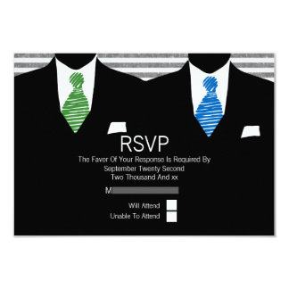 Mr and Mr Suit Green Blue Ties Gay Wedding RSVP V1 3.5x5 Paper Invitation Card