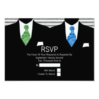 Mr and Mr Suit Green Blue Ties Gay Wedding RSVP V2 Card