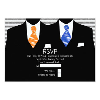 Mr and Mr Suit Orange Blue Ties Gay Wedding RSVP Card