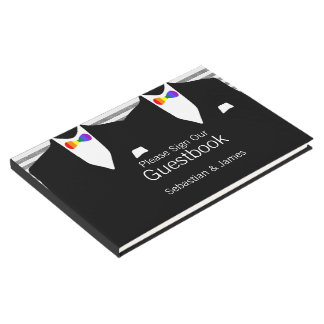Mr and Mr Suit Rainbow Bow Ties Gay Wedding Custom Guest Book