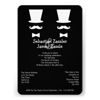 Mr and Mr Top Hat Mustache And Bow Tie Wedding Invite
