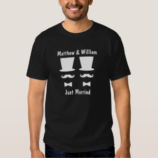 Mr and Mr Top Hat Mustache And Bow Tie Wedding Tees