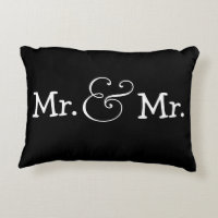 Mr and Mr Two Grooms Gay Wedding Gift Accent Pillow