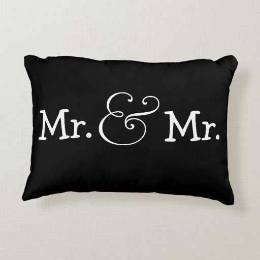 Mr And Mr Two Groom Gay Wedding Gift Accent Pillow