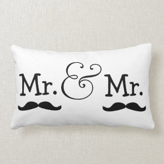 Mr and Mr Two Grooms Mustache Wedding Gift Lumbar Pillow