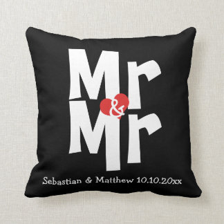 Mr and Mr Two Grooms Personalized Wedding Throw Pillow
