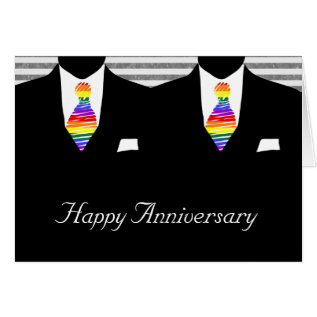 Mr and Mr, Two Grooms Wedding Anniversary Card at Zazzle