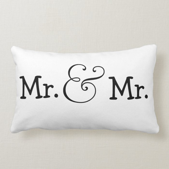 Mr and Mr Two Grooms Wedding Gift Lumbar Pillow