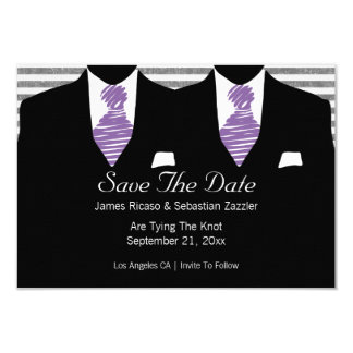 Mr And Mr Two Suits Gay Wedding Purple 3.5x5 Paper Invitation Card