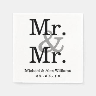 Mr. and Mr. Wedding Napkins   Custom Monogram