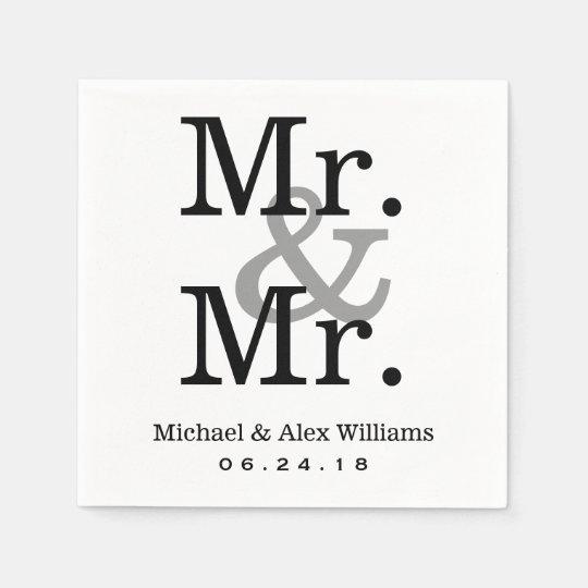mr and mr wedding napkins custom monogram