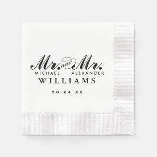 Mr. and Mr. Wedding Napkins | Custom Monogram