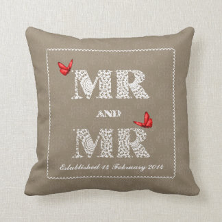 Mr and Mr White Lace  Word Art  Red Butterflies Pillow