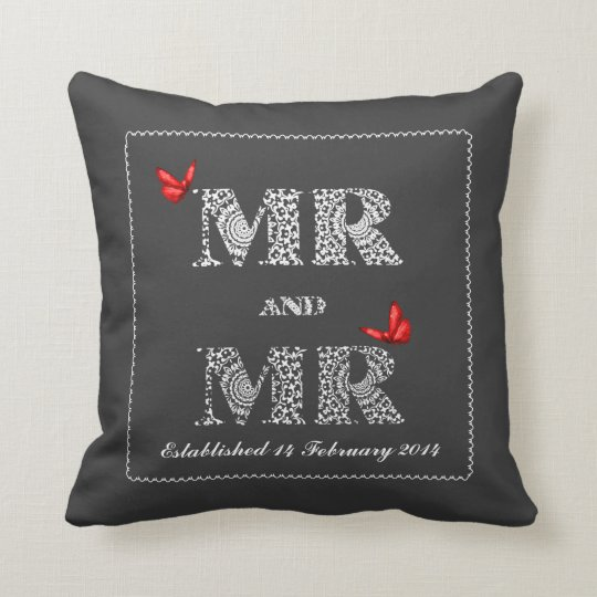 Mr and Mr White Lace  Word Art  Red Butterflies Throw Pillow