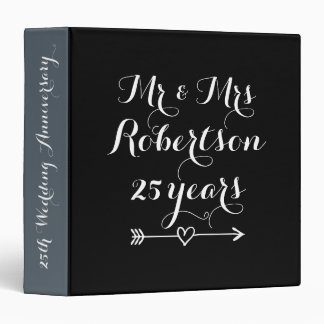 Mr and Mrs 25th wedding anniversary photo album 3 Ring Binder