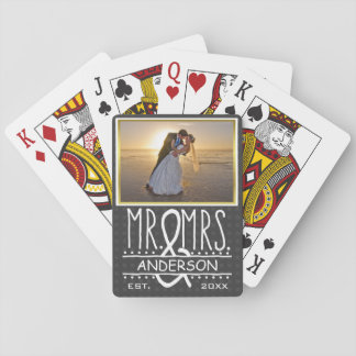 Mr and Mrs Ampersand Personalized Wedding Photo Playing Cards