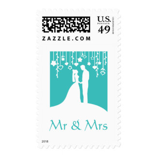 Mr and Mrs - aqua bride & groom silhouettes Postage Stamps