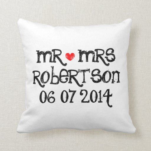 Mr And Mrs Pillows Mr And Mrs Throw Pillows Zazzle