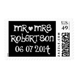 Mr and Mrs black chalkboard writing wedding stamps