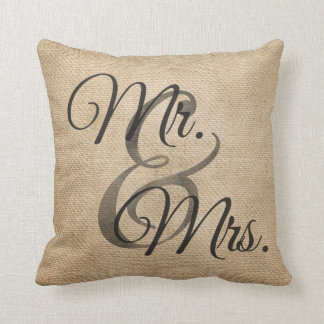 Mr and Mrs Burlap Wedding Personalized Throw Pillows