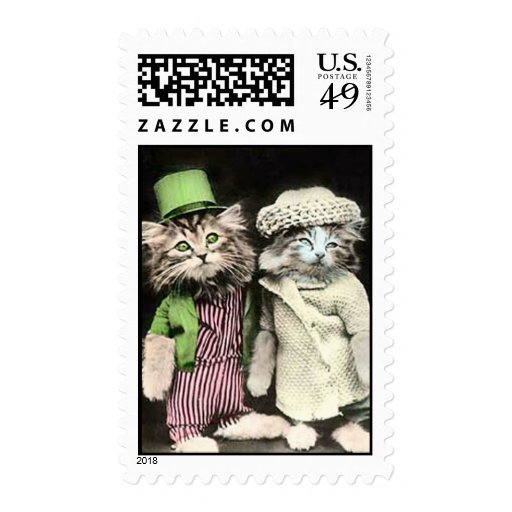 Mr and Mrs Cat Postage Stamp