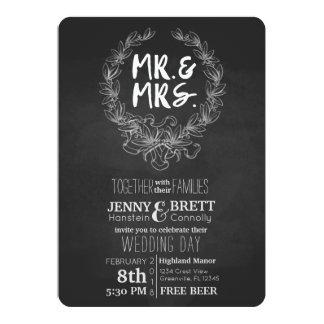 Mr and Mrs Chalkboard Free Beer Wedding Invtation Card