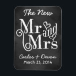 """""""Mr. and Mrs."""" Chalkboard Wedding Souvenier Magnet<br><div class=""""desc"""">This adorable, chic, wedding favor magnet is a trendy way for your guests to remember your special wedding day. Easily customize this modern, chalkboard typography style wedding magnet by using the given template to change the names and date. This black and white basic chalkboard style compliments most chalkboard typography wedding...</div>"""