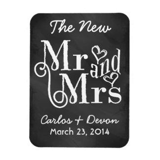 """Mr. and Mrs."" Chalkboard Wedding Souvenier Magnet"