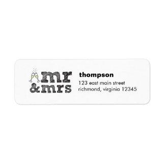 Mr and Mrs champagne glasses return label