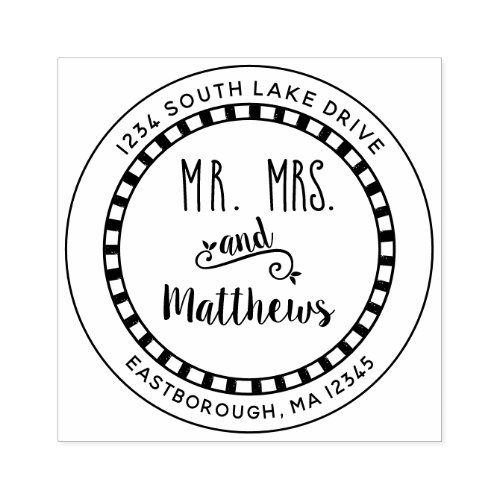 Mr and Mrs Check Create Your Own Return Address Rubber Stamp