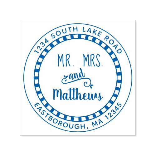 Mr and Mrs Check Create Your Own Return Address Self_inking Stamp