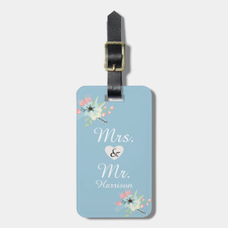 Mr. and Mrs. Chic Floral Luggage Tags