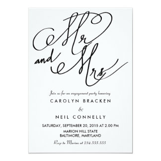 Mr And Mrs Classy Typography Engagement Party Card