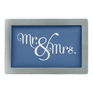 Mr. and Mrs. Classy White on Blue Rectangular Belt Buckle
